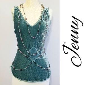Jenny Jen Super Luxe Sage Velvet beaded camisole